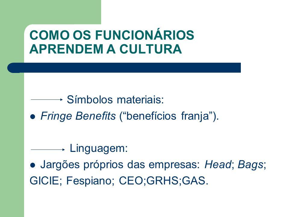 COMO OS FUNCIONÁRIOS APRENDEM A CULTURA Símbolos materiais: Fringe Benefits (benefícios franja). Linguagem: Jargões próprios das empresas: Head; Bags;