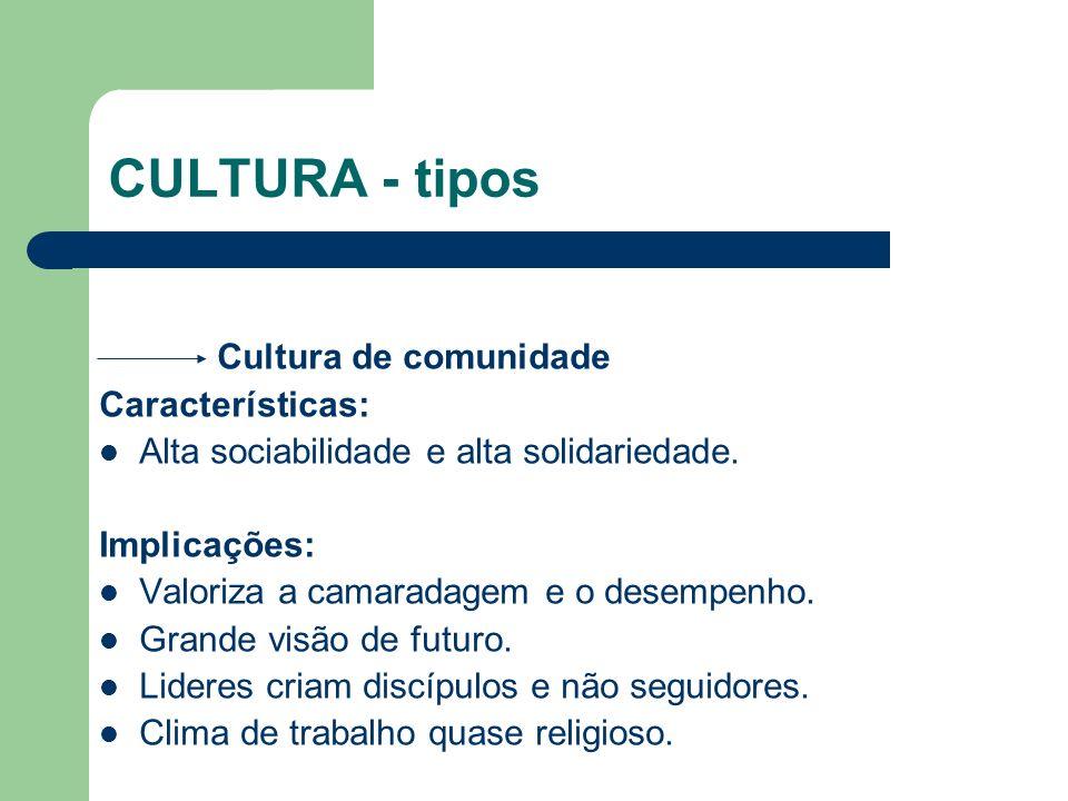CULTURA - tipos Cultura de comunidade Características: Alta sociabilidade e alta solidariedade. Implicações: Valoriza a camaradagem e o desempenho. Gr