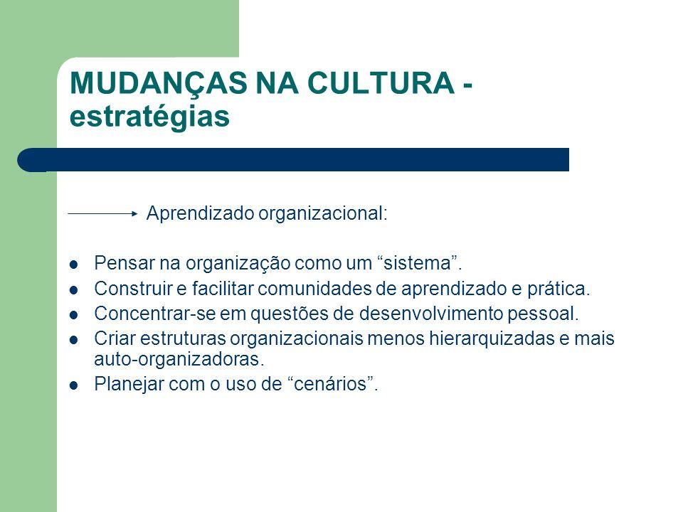 MUDANÇAS NA CULTURA - estratégias Aprendizado organizacional: Pensar na organização como um sistema. Construir e facilitar comunidades de aprendizado