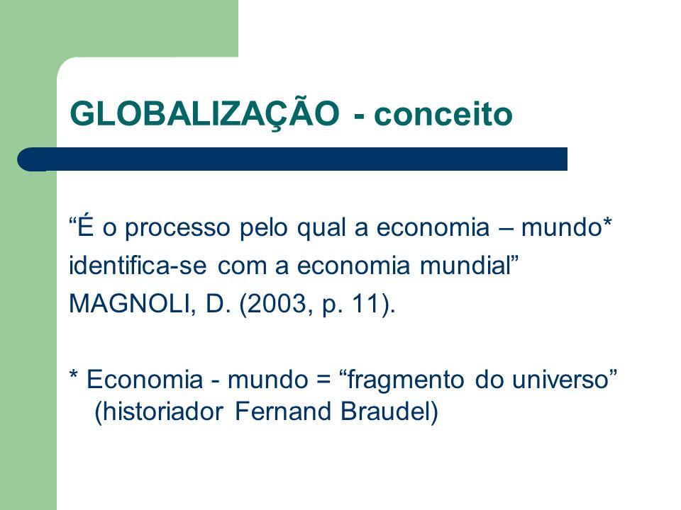 GLOBALIZAÇÃO - conceito É o processo pelo qual a economia – mundo* identifica-se com a economia mundial MAGNOLI, D. (2003, p. 11). * Economia - mundo