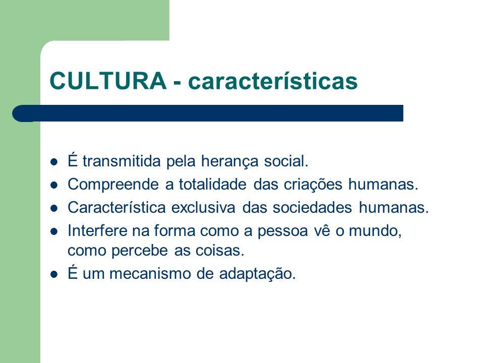 CULTURA - características É transmitida pela herança social. Compreende a totalidade das criações humanas. Característica exclusiva das sociedades hum