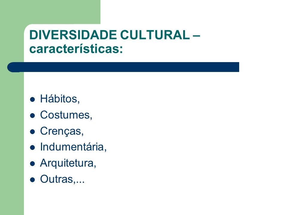 DIVERSIDADE CULTURAL – características: Hábitos, Costumes, Crenças, Indumentária, Arquitetura, Outras,...