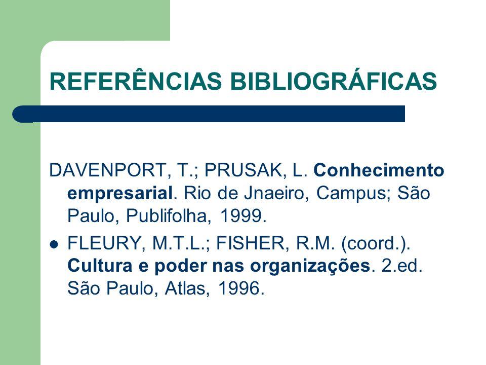 REFERÊNCIAS BIBLIOGRÁFICAS DAVENPORT, T.; PRUSAK, L. Conhecimento empresarial. Rio de Jnaeiro, Campus; São Paulo, Publifolha, 1999. FLEURY, M.T.L.; FI