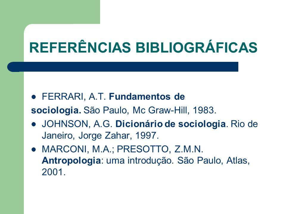 REFERÊNCIAS BIBLIOGRÁFICAS FERRARI, A.T. Fundamentos de sociologia. São Paulo, Mc Graw-Hill, 1983. JOHNSON, A.G. Dicionário de sociologia. Rio de Jane
