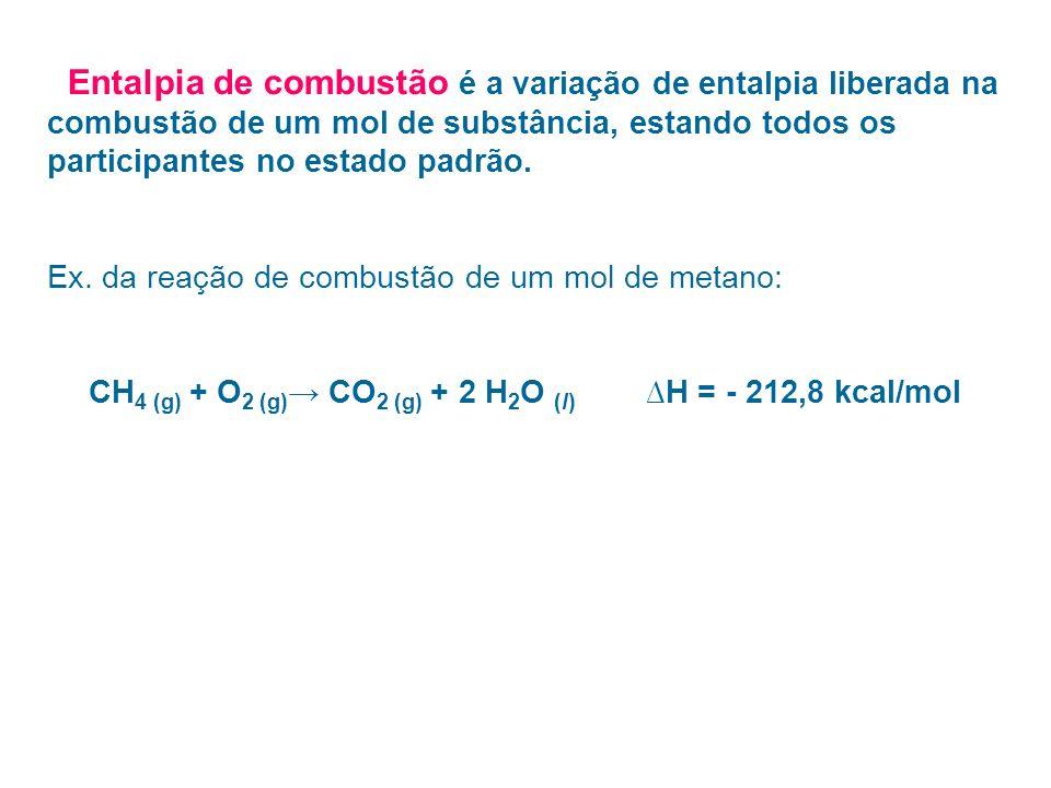 Entalpia de combustão é a variação de entalpia liberada na combustão de um mol de substância, estando todos os participantes no estado padrão. Ex. da