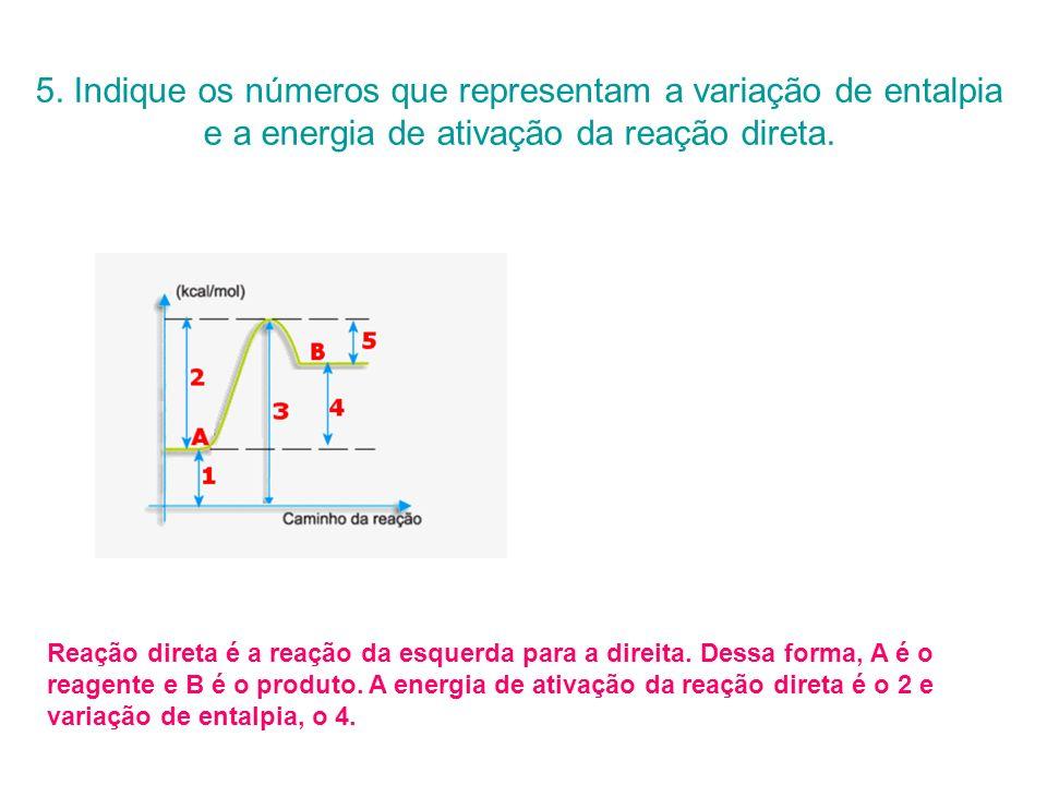 5. Indique os números que representam a variação de entalpia e a energia de ativação da reação direta. Reação direta é a reação da esquerda para a dir