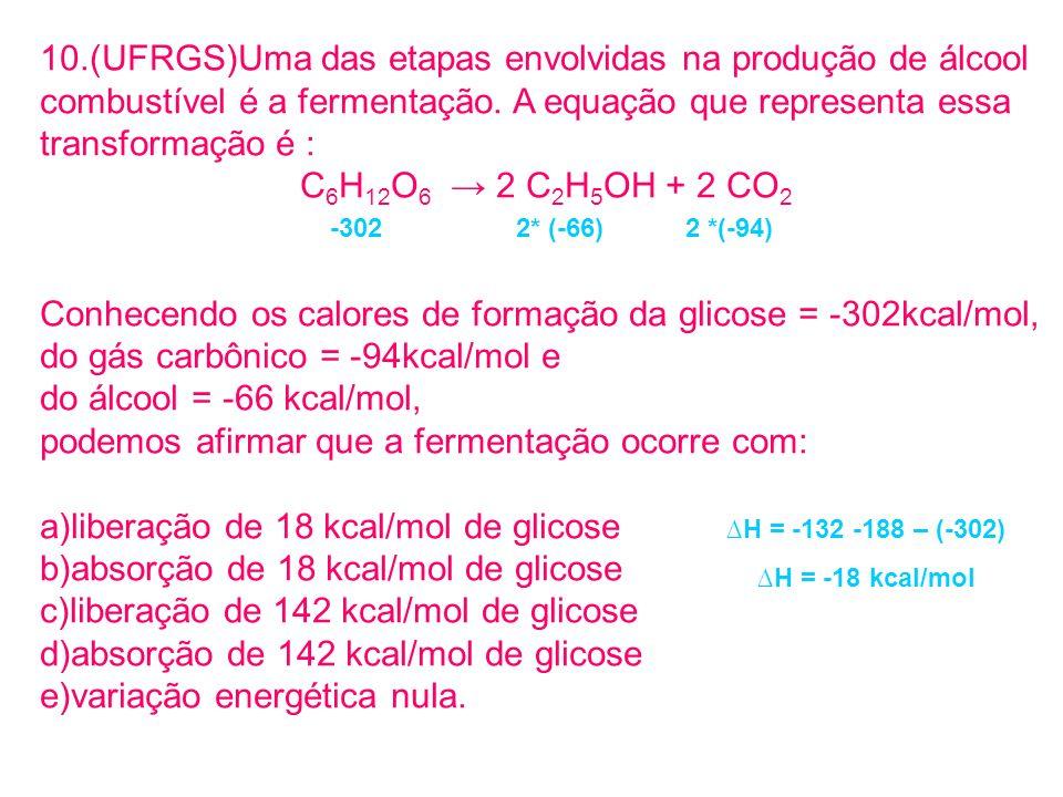 10.(UFRGS)Uma das etapas envolvidas na produção de álcool combustível é a fermentação. A equação que representa essa transformação é : C 6 H 12 O 6 2
