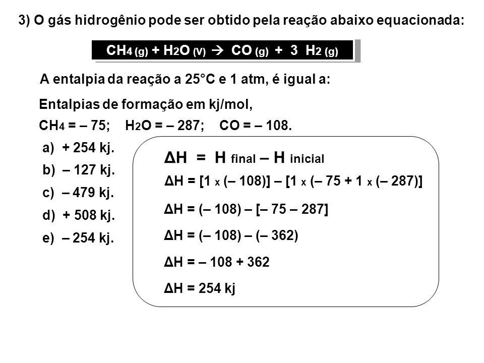 03) O gás hidrogênio pode ser obtido pela reação abaixo equacionada: A entalpia da reação a 25°C e 1 atm, é igual a: Entalpias de formação em kj/mol, CH 4 = – 75; H 2 O = – 287; CO = – 108.