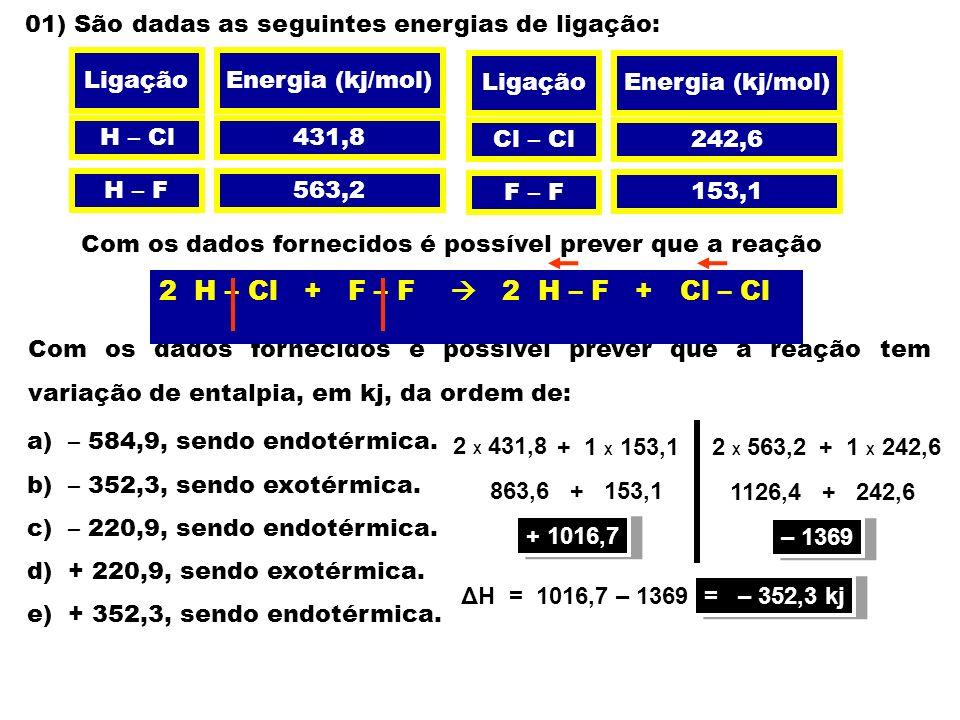 01) São dadas as seguintes energias de ligação: LigaçãoEnergia (kj/mol) H – Cl H – F Cl – Cl F – F 431,8 563,2 242,6 153,1 Com os dados fornecidos é possível prever que a reação Com os dados fornecidos é possível prever que a reação tem variação de entalpia, em kj, da ordem de: 2 HCl (g) + F 2 (g) 2 HF (g) + Cl 2 (g) LigaçãoEnergia (kj/mol) a) – 584,9, sendo endotérmica.