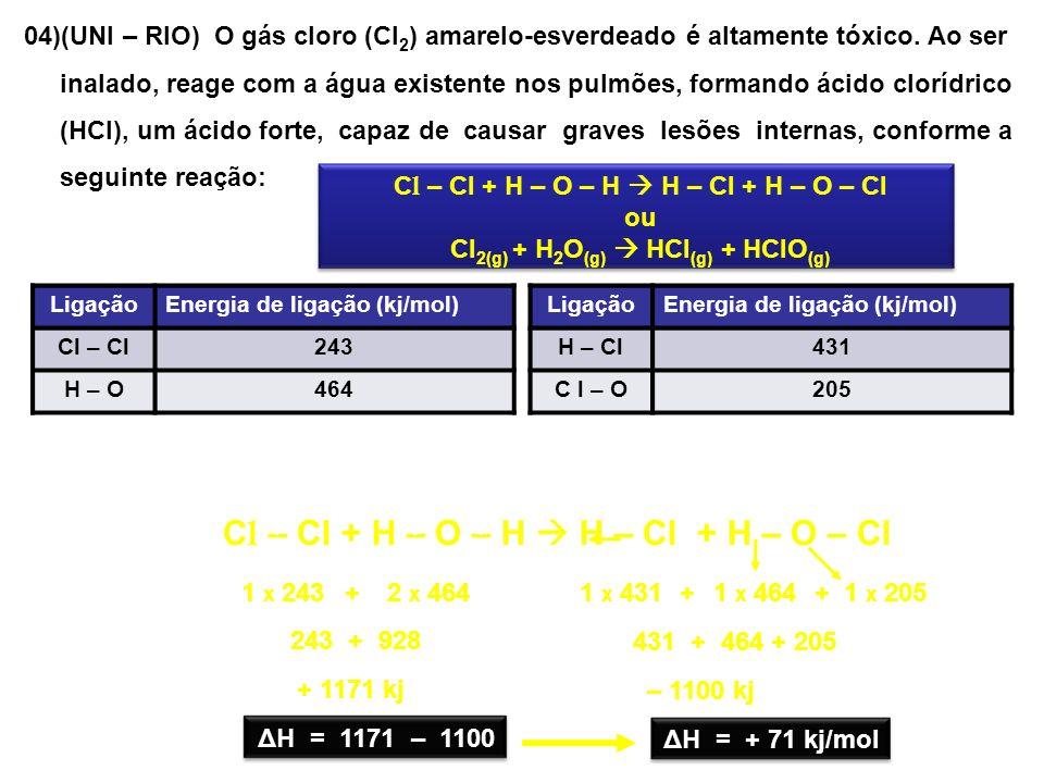 04)(UNI – RIO) O gás cloro (Cl 2 ) amarelo-esverdeado é altamente tóxico. Ao ser inalado, reage com a água existente nos pulmões, formando ácido clorí