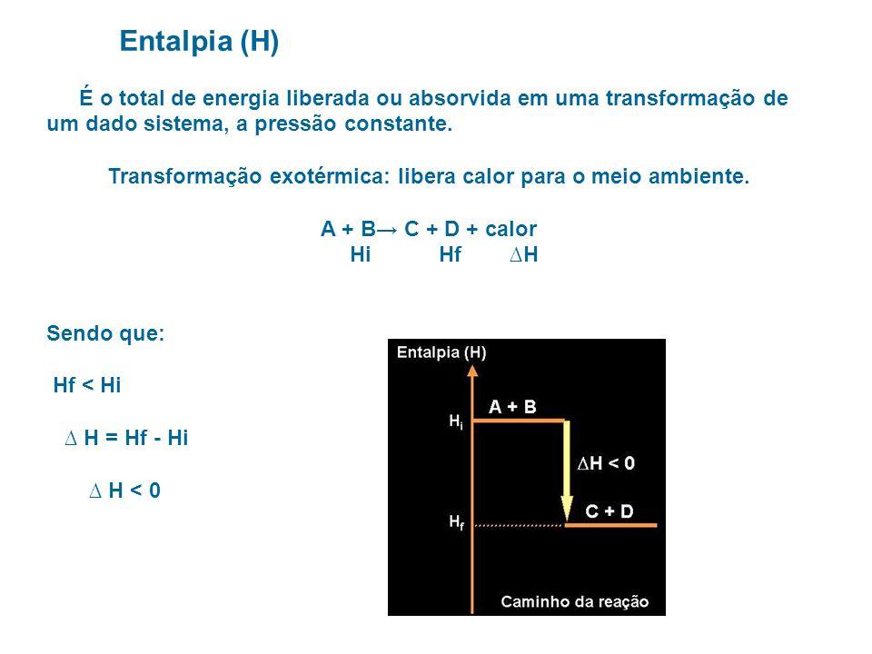 Entalpia (H) É o total de energia liberada ou absorvida em uma transformação de um dado sistema, a pressão constante. Transformação exotérmica: libera