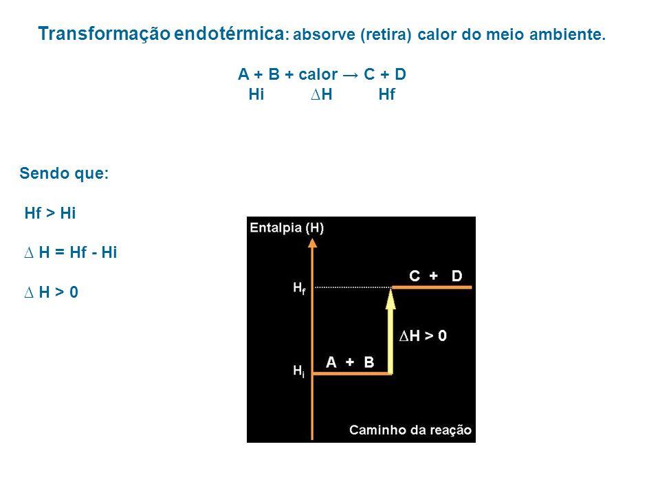 Transformação endotérmica : absorve (retira) calor do meio ambiente. A + B + calor C + D Hi H Hf Sendo que: Hf > Hi H = Hf - Hi H > 0