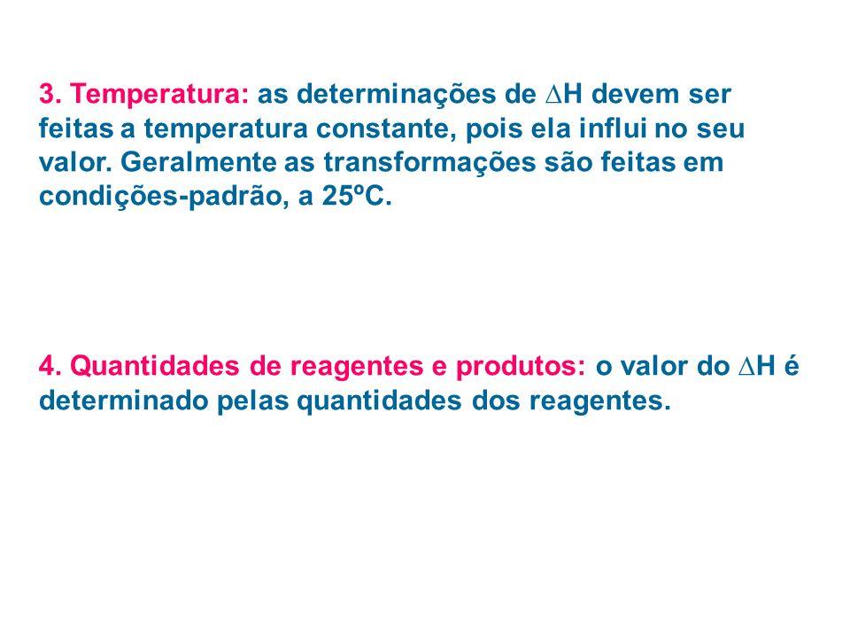 Equação termoquímica: nela devem constar o valor da entalpia e todos os fatores que nela influem no seu valor: estado físico Pressão Temperatura variedade alotrópica Ex: C grafite + O 2 (g) CO 2 (g) H = - 392,9 kJ/mol (a 25ºC e 1 atm)