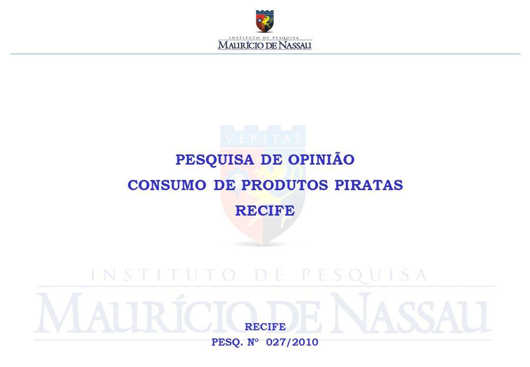 PESQUISA DE OPINIÃO CONSUMO DE PRODUTOS PIRATAS RECIFE PESQ. Nº 027/2010
