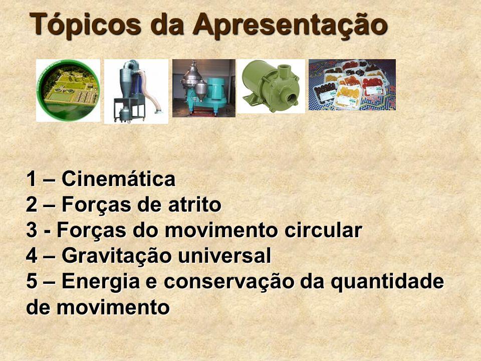 3 Tópicos da Apresentação 1 – Cinemática 2 – Forças de atrito 3 - Forças do movimento circular 4 – Gravitação universal 5 – Energia e conservação da q