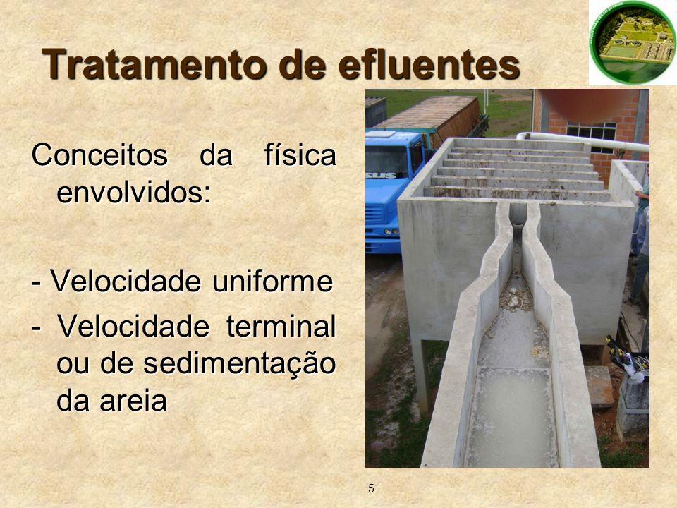 5 Tratamento de efluentes Conceitos da física envolvidos: - Velocidade uniforme - Velocidade terminal ou de sedimentação da areia