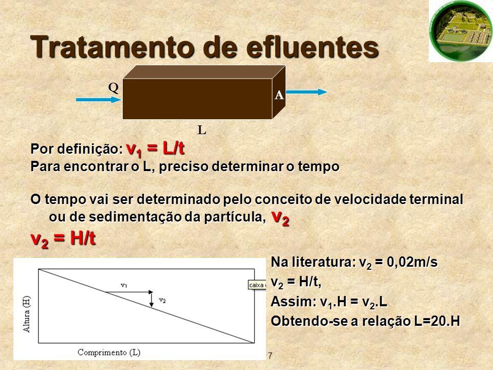 7 Tratamento de efluentes Por definição: v 1 = L/t Para encontrar o L, preciso determinar o tempo O tempo vai ser determinado pelo conceito de velocid