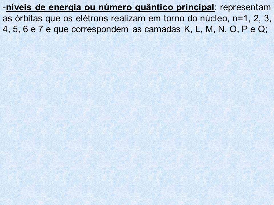 -níveis de energia ou número quântico principal: representam as órbitas que os elétrons realizam em torno do núcleo, n=1, 2, 3, 4, 5, 6 e 7 e que corr