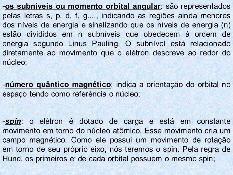 -os subníveis ou momento orbital angular: são representados pelas letras s, p, d, f, g...., indicando as regiões ainda menores dos níveis de energia e