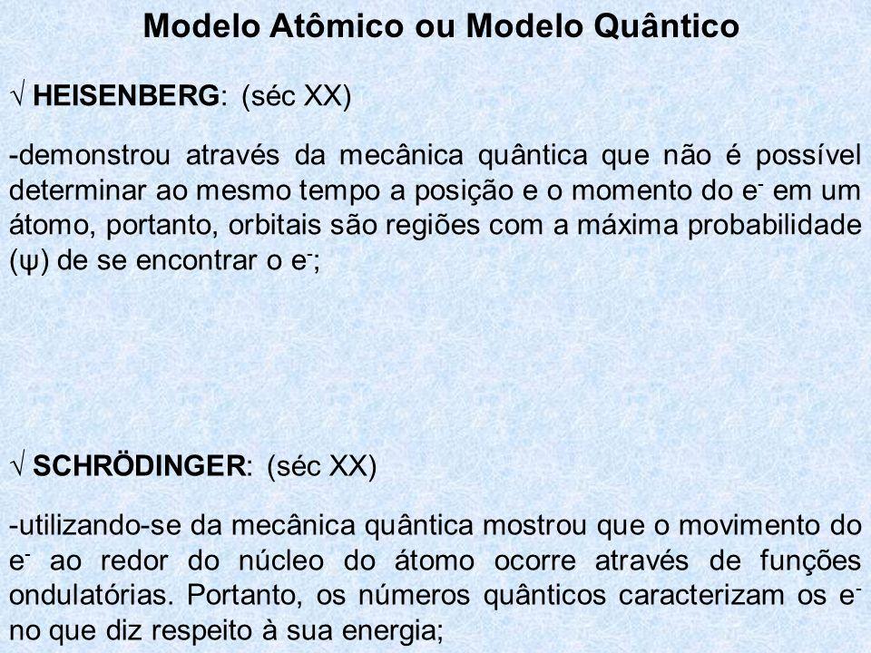 Modelo Atômico ou Modelo Quântico HEISENBERG: (séc XX) -demonstrou através da mecânica quântica que não é possível determinar ao mesmo tempo a posição