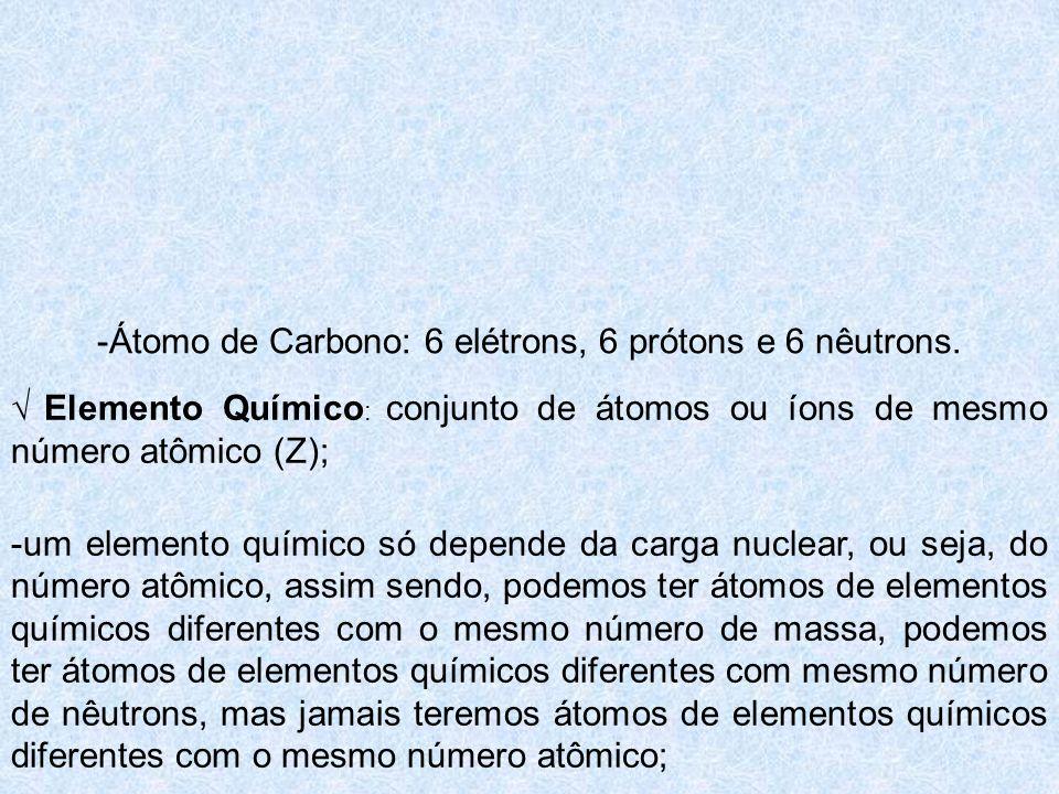 -Átomo de Carbono: 6 elétrons, 6 prótons e 6 nêutrons. Elemento Químico : conjunto de átomos ou íons de mesmo número atômico (Z); -um elemento químico