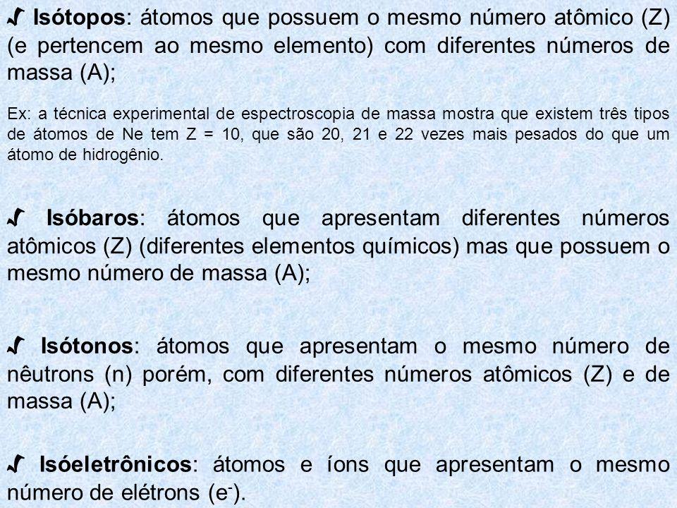 Isótopos: átomos que possuem o mesmo número atômico (Z) (e pertencem ao mesmo elemento) com diferentes números de massa (A); Ex: a técnica experimenta