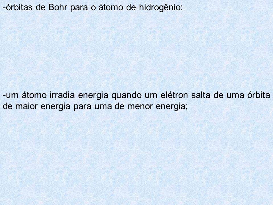 -órbitas de Bohr para o átomo de hidrogênio: -um átomo irradia energia quando um elétron salta de uma órbita de maior energia para uma de menor energi