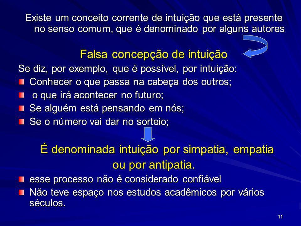 11 Existe um conceito corrente de intuição que está presente no senso comum, que é denominado por alguns autores Falsa concepção de intuição Se diz, p