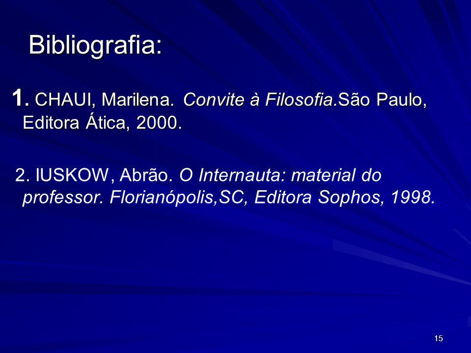 15 Bibliografia: 1. CHAUI, Marilena. Convite à Filosofia.São Paulo, Editora Ática, 2000. 1. CHAUI, Marilena. Convite à Filosofia.São Paulo, Editora Át