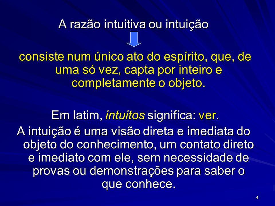 4 A razão intuitiva ou intuição consiste num único ato do espírito, que, de uma só vez, capta por inteiro e completamente o objeto. consiste num único