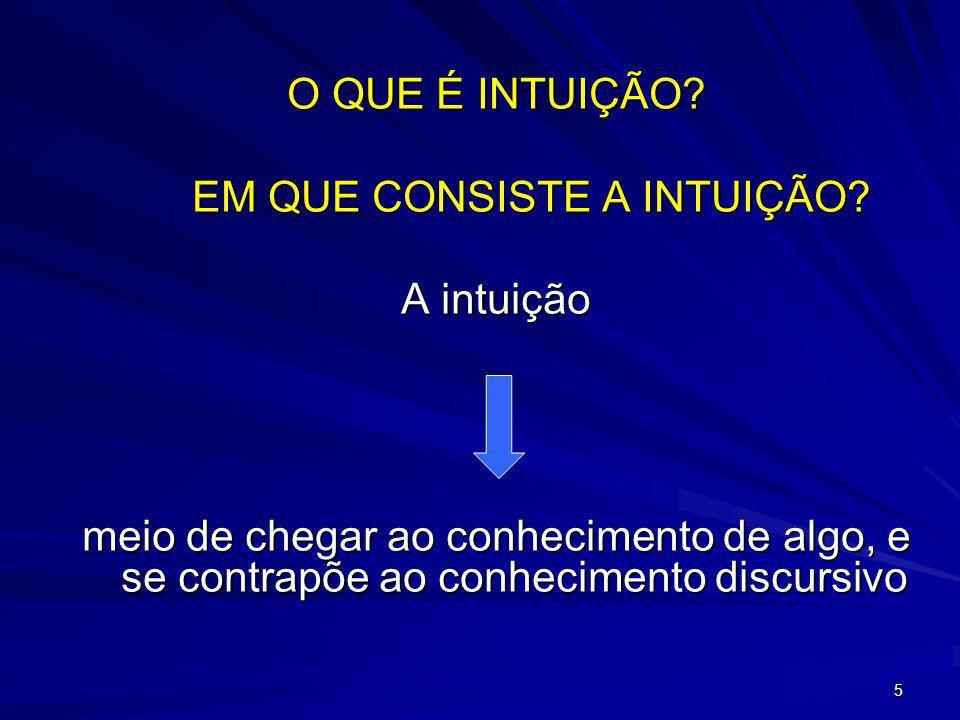 6 A intuição é uma compreensão global e instantânea de uma verdade, de um objeto, de um fato.