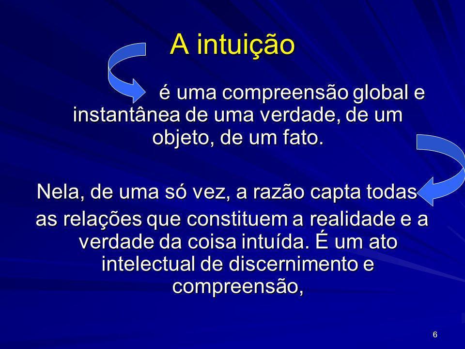 6 A intuição é uma compreensão global e instantânea de uma verdade, de um objeto, de um fato. é uma compreensão global e instantânea de uma verdade, d