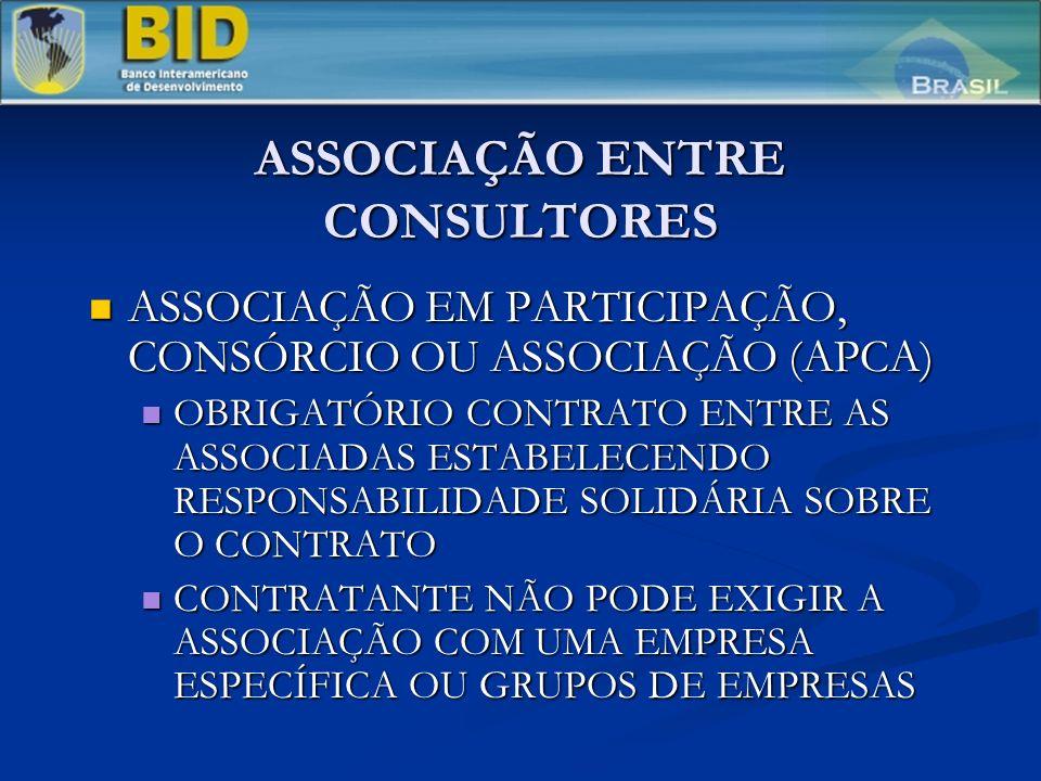 ASSOCIAÇÃO ENTRE CONSULTORES ASSOCIAÇÃO EM PARTICIPAÇÃO, CONSÓRCIO OU ASSOCIAÇÃO (APCA) ASSOCIAÇÃO EM PARTICIPAÇÃO, CONSÓRCIO OU ASSOCIAÇÃO (APCA) OBRIGATÓRIO CONTRATO ENTRE AS ASSOCIADAS ESTABELECENDO RESPONSABILIDADE SOLIDÁRIA SOBRE O CONTRATO OBRIGATÓRIO CONTRATO ENTRE AS ASSOCIADAS ESTABELECENDO RESPONSABILIDADE SOLIDÁRIA SOBRE O CONTRATO CONTRATANTE NÃO PODE EXIGIR A ASSOCIAÇÃO COM UMA EMPRESA ESPECÍFICA OU GRUPOS DE EMPRESAS CONTRATANTE NÃO PODE EXIGIR A ASSOCIAÇÃO COM UMA EMPRESA ESPECÍFICA OU GRUPOS DE EMPRESAS