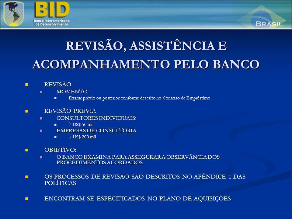 REVISÃO, ASSISTÊNCIA E ACOMPANHAMENTO PELO BANCO REVISÃO REVISÃO MOMENTO: MOMENTO: Exame prévio ou posterior conforme descrito no Contrato de Emprésti