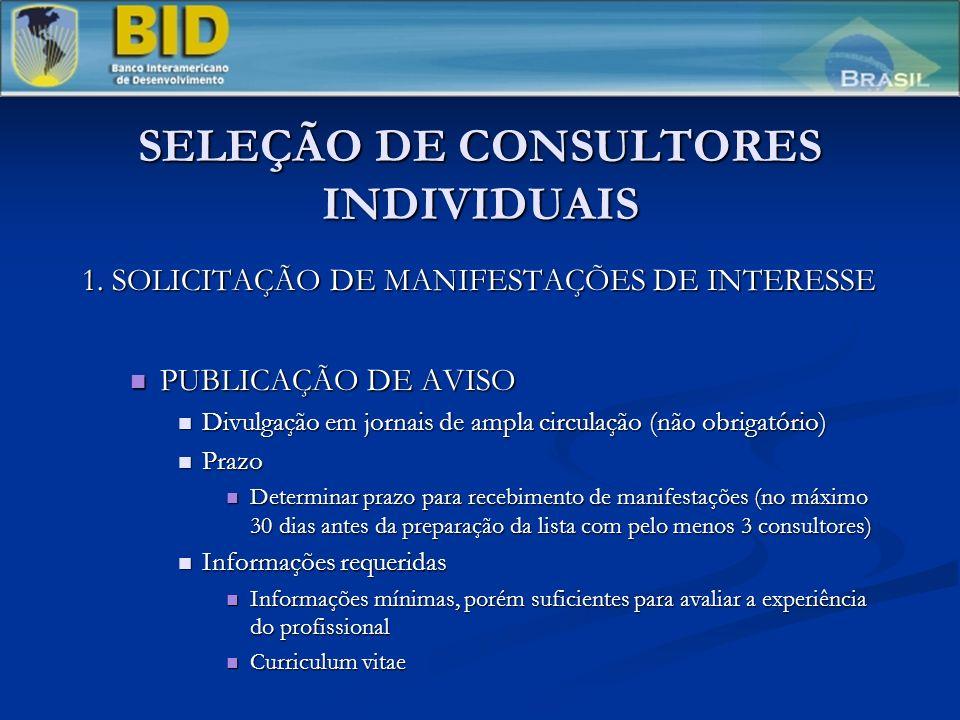 SELEÇÃO DE CONSULTORES INDIVIDUAIS 1. SOLICITAÇÃO DE MANIFESTAÇÕES DE INTERESSE PUBLICAÇÃO DE AVISO PUBLICAÇÃO DE AVISO Divulgação em jornais de ampla