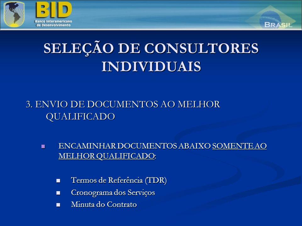 SELEÇÃO DE CONSULTORES INDIVIDUAIS 3. ENVIO DE DOCUMENTOS AO MELHOR QUALIFICADO ENCAMINHAR DOCUMENTOS ABAIXO SOMENTE AO MELHOR QUALIFICADO: ENCAMINHAR