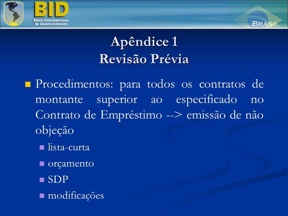 Apêndice 1 Revisão Prévia Procedimentos: para todos os contratos de montante superior ao especificado no Contrato de Empréstimo --> emissão de não objeção lista-curta orçamento SDP modificações