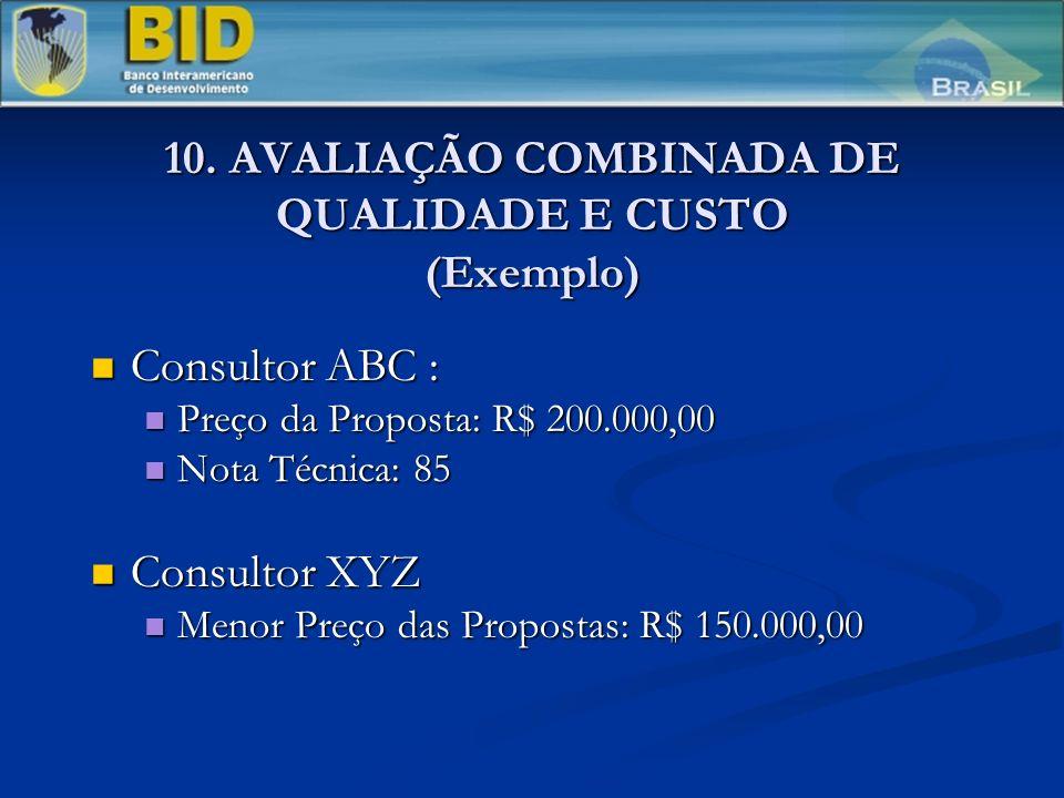 10. AVALIAÇÃO COMBINADA DE QUALIDADE E CUSTO (Exemplo) Consultor ABC : Consultor ABC : Preço da Proposta: R$ 200.000,00 Preço da Proposta: R$ 200.000,