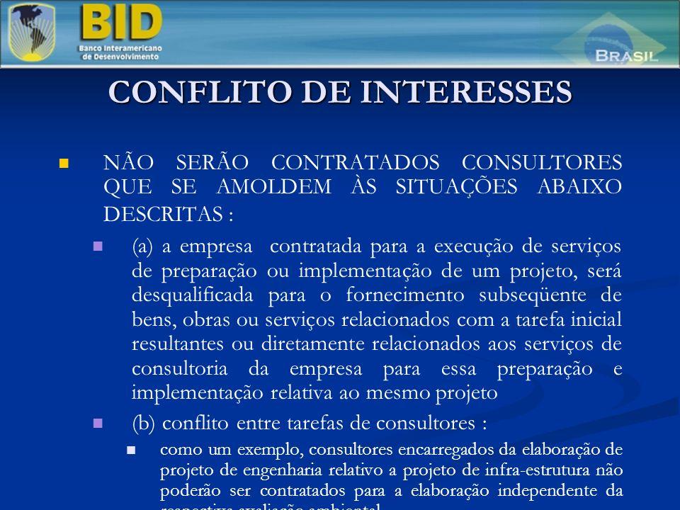 CONFLITO DE INTERESSES NÃO SERÃO CONTRATADOS CONSULTORES QUE SE AMOLDEM ÀS SITUAÇÕES ABAIXO DESCRITAS : (a) a empresa contratada para a execução de se