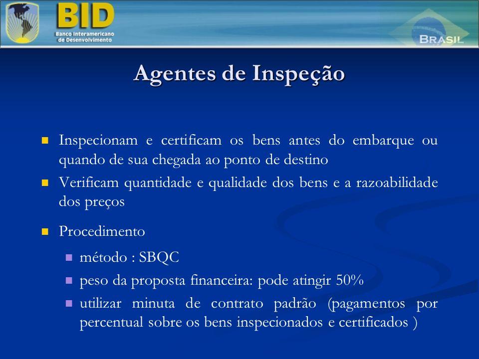 Agentes de Inspeção Inspecionam e certificam os bens antes do embarque ou quando de sua chegada ao ponto de destino Verificam quantidade e qualidade d