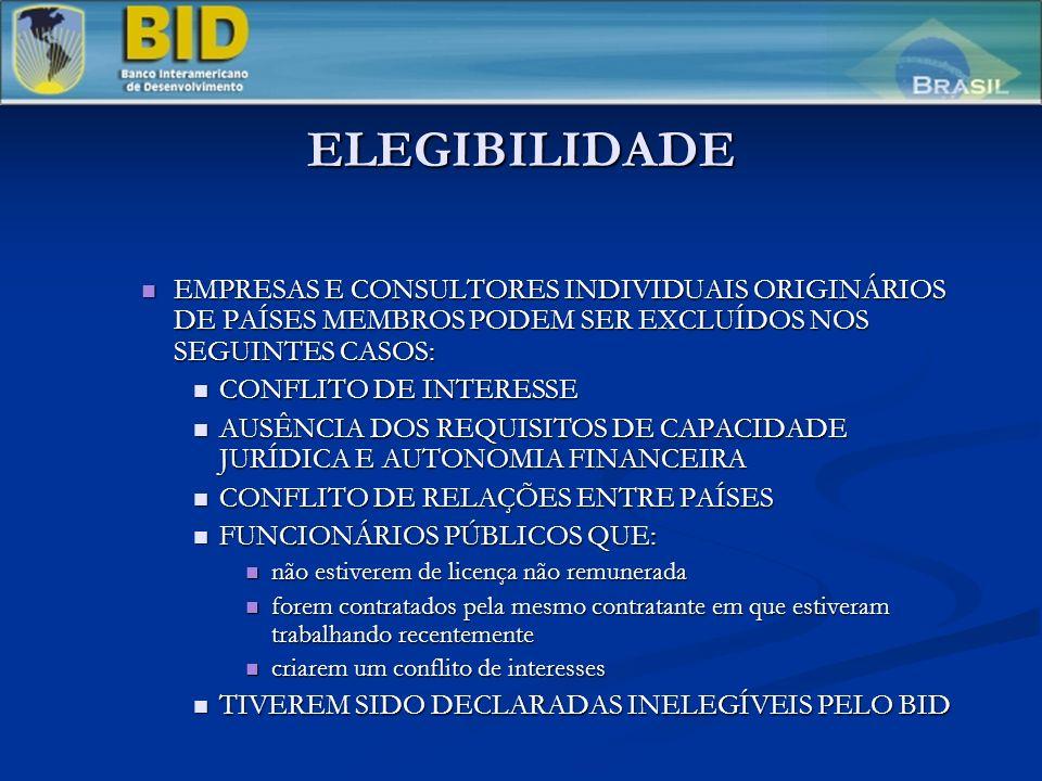 ELEGIBILIDADE EMPRESAS E CONSULTORES INDIVIDUAIS ORIGINÁRIOS DE PAÍSES MEMBROS PODEM SER EXCLUÍDOS NOS SEGUINTES CASOS: EMPRESAS E CONSULTORES INDIVIDUAIS ORIGINÁRIOS DE PAÍSES MEMBROS PODEM SER EXCLUÍDOS NOS SEGUINTES CASOS: CONFLITO DE INTERESSE CONFLITO DE INTERESSE AUSÊNCIA DOS REQUISITOS DE CAPACIDADE JURÍDICA E AUTONOMIA FINANCEIRA AUSÊNCIA DOS REQUISITOS DE CAPACIDADE JURÍDICA E AUTONOMIA FINANCEIRA CONFLITO DE RELAÇÕES ENTRE PAÍSES CONFLITO DE RELAÇÕES ENTRE PAÍSES FUNCIONÁRIOS PÚBLICOS QUE: FUNCIONÁRIOS PÚBLICOS QUE: não estiverem de licença não remunerada não estiverem de licença não remunerada forem contratados pela mesmo contratante em que estiveram trabalhando recentemente forem contratados pela mesmo contratante em que estiveram trabalhando recentemente criarem um conflito de interesses criarem um conflito de interesses TIVEREM SIDO DECLARADAS INELEGÍVEIS PELO BID TIVEREM SIDO DECLARADAS INELEGÍVEIS PELO BID