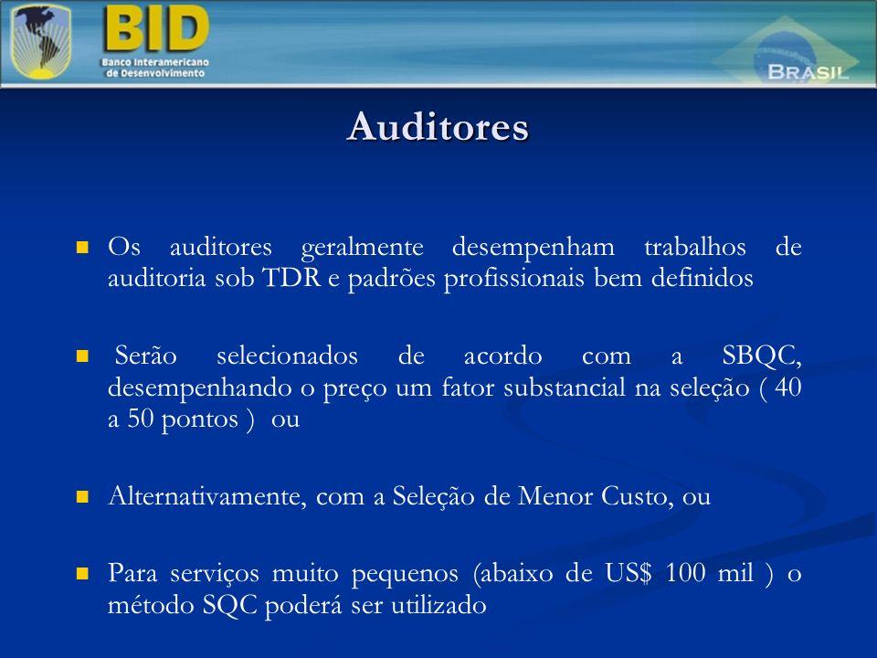 Auditores Os auditores geralmente desempenham trabalhos de auditoria sob TDR e padrões profissionais bem definidos Serão selecionados de acordo com a SBQC, desempenhando o preço um fator substancial na seleção ( 40 a 50 pontos ) ou Alternativamente, com a Seleção de Menor Custo, ou Para serviços muito pequenos (abaixo de US$ 100 mil ) o método SQC poderá ser utilizado