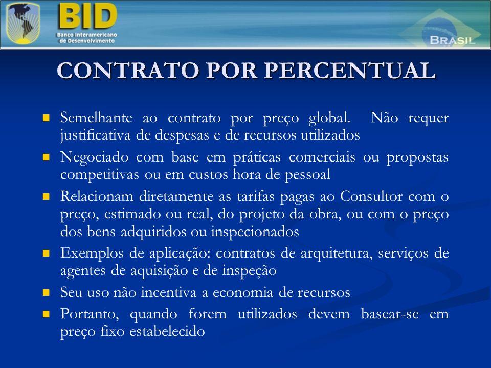 CONTRATO POR PERCENTUAL Semelhante ao contrato por preço global. Não requer justificativa de despesas e de recursos utilizados Negociado com base em p