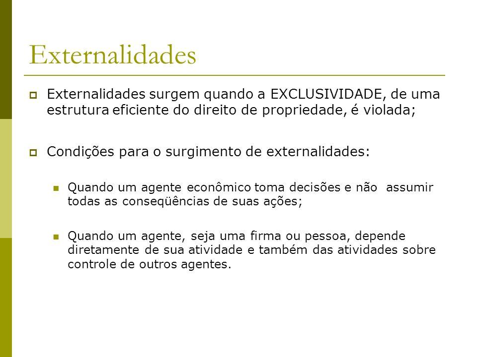 Externalidades surgem quando a EXCLUSIVIDADE, de uma estrutura eficiente do direito de propriedade, é violada; Condições para o surgimento de external