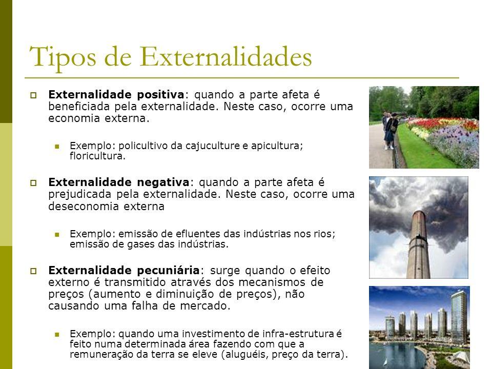 Tipos de Externalidades Externalidade positiva: quando a parte afeta é beneficiada pela externalidade. Neste caso, ocorre uma economia externa. Exempl