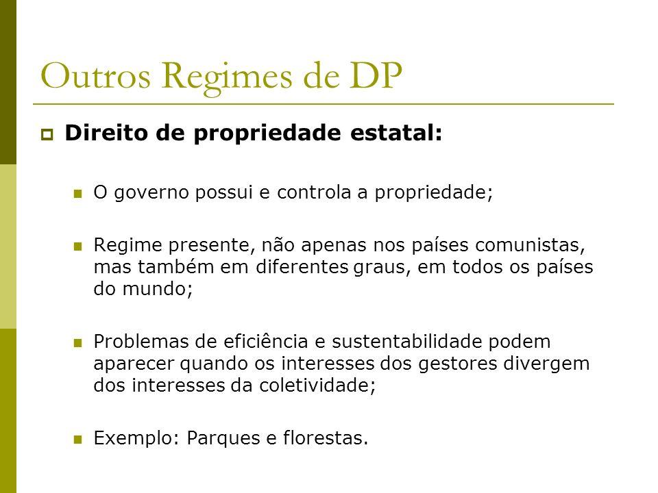 Outros Regimes de DP Direito de propriedade estatal: O governo possui e controla a propriedade; Regime presente, não apenas nos países comunistas, mas
