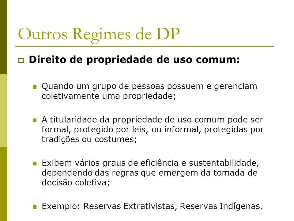Outros Regimes de DP Direito de propriedade de uso comum: Quando um grupo de pessoas possuem e gerenciam coletivamente uma propriedade; A titularidade