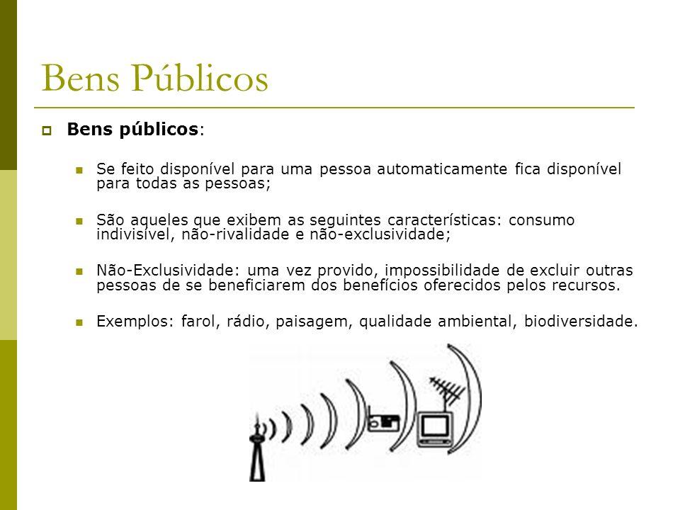 Bens públicos: Se feito disponível para uma pessoa automaticamente fica disponível para todas as pessoas; São aqueles que exibem as seguintes caracter