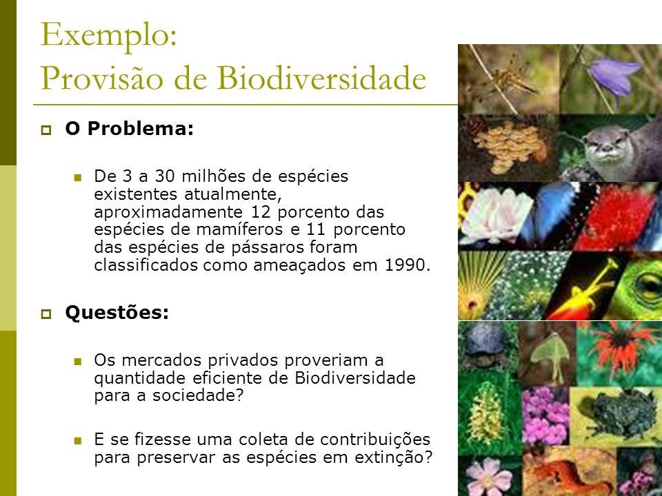 Exemplo: Provisão de Biodiversidade O Problema: De 3 a 30 milhões de espécies existentes atualmente, aproximadamente 12 porcento das espécies de mamíf