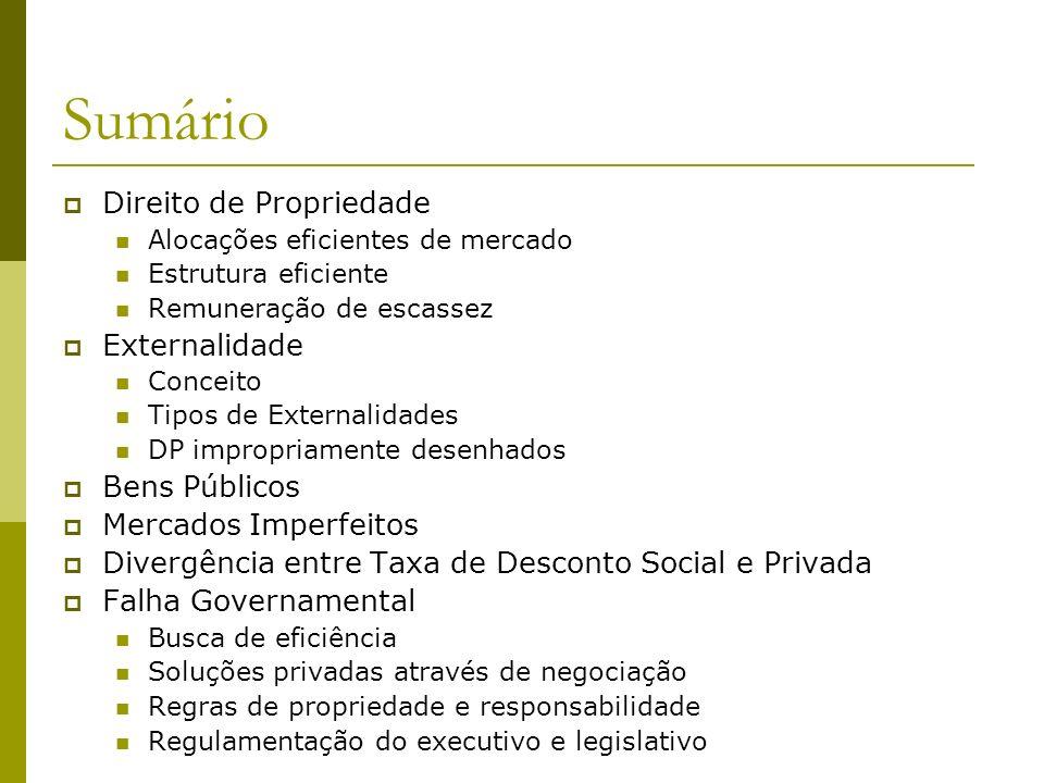 Sumário Direito de Propriedade Alocações eficientes de mercado Estrutura eficiente Remuneração de escassez Externalidade Conceito Tipos de Externalida